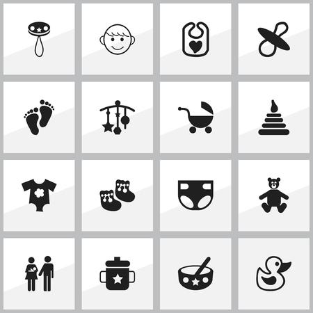 Conjunto de 16 iconos editables. Incluye símbolos como cuchara, chupetes, juguetes para el baño y más. Se puede usar para diseño web, móvil, de interfaz de usuario y de infografía.