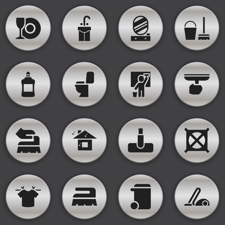 Set Of 16 Editable Hygiene Icons. Includes Symbols Such As Clean T-Shirt, Pure Home, Sink And More. Can Be Used For Web, Mobile, UI And Infographic Design.