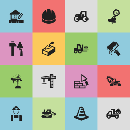 ampoule: Set Of 16 Editable Building Icons. Includes Symbols Such As Mule, Lifting Equipment, Truck And More. Can Be Used For Web, Mobile, UI And Infographic Design. Illustration