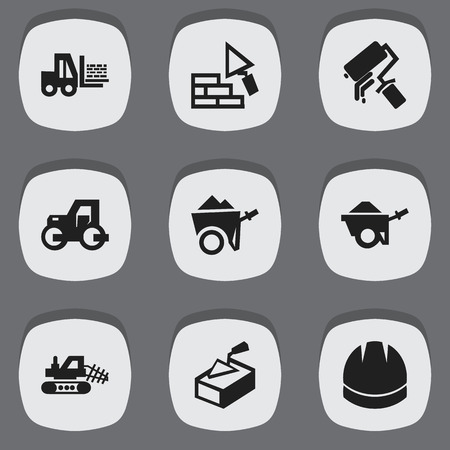 architect: Set Of 9 Editable Construction Icons. Includes Symbols Such As Caterpillar, Trolley, Spatula And More. Can Be Used For Web, Mobile, UI And Infographic Design. Illustration