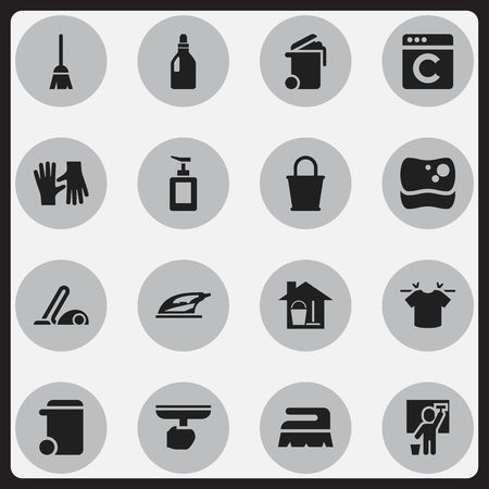 Set Of 16 Editable Cleaning Icons. Includes Symbols Such As Bucket With Mop, Container, Brush And More. Can Be Used For Web, Mobile, UI And Infographic Design. Illustration