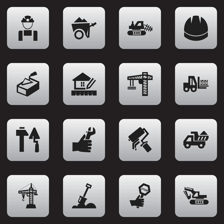ampoule: Set Of 16 Editable Structure Icons. Includes Symbols Such As Scrub, Employee, Excavation Machine And More. Can Be Used For Web, Mobile, UI And Infographic Design. Illustration