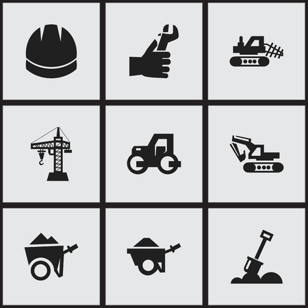 architect: Set Of 9 Editable Building Icons. Includes Symbols Such As Hands , Trolley , Hardhat. Can Be Used For Web, Mobile, UI And Infographic Design.