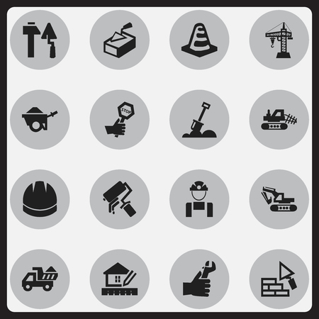 camion: Set Of 16 Editable Construction Icons. Includes Symbols Such As Notice Object, Camion, Hardhat And More. Can Be Used For Web, Mobile, UI And Infographic Design.