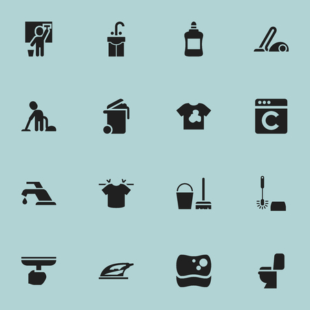 Set Of 16 Editable Dry-Cleaning Icons. Includes Symbols Such As Vacuum Cleaner, Servant, Laundress And More. Can Be Used For Web, Mobile, UI And Infographic Design.