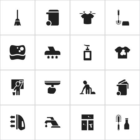 Set Of 16 Editable Cleanup Icons. Includes Symbols Such As Servant, Unclean Blouse, Broomstick And More. Can Be Used For Web, Mobile, UI And Infographic Design.