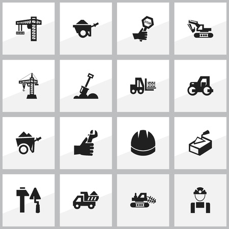 mason: Set Of 16 Editable Structure Icons. Includes Symbols Such As Handcart , Spatula , Camion. Can Be Used For Web, Mobile, UI And Infographic Design.