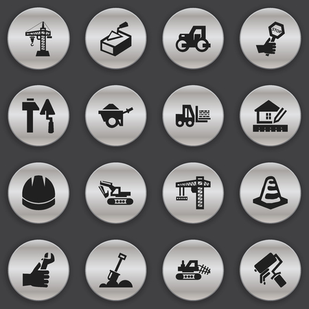Set Of 16 Editable Building Icons. Includes Symbols Such As Hands , Excavation Machine , Scrub. Can Be Used For Web, Mobile, UI And Infographic Design.