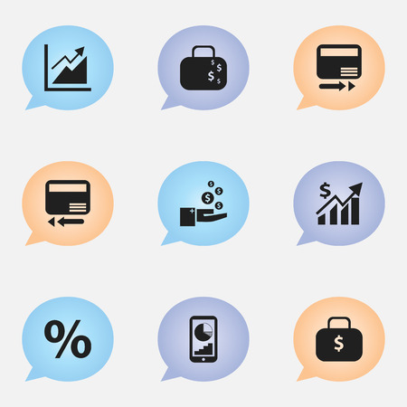 Set Of 9 Editable Logical Icons. Includes Symbols Such As Percent, Pay Redeem, Revenue And More. Can Be Used For Web, Mobile, UI And Infographic Design.