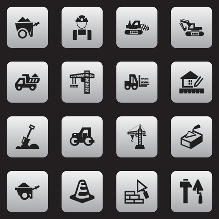 Set Of 16 Editable Structure Icons. Includes Symbols Such As Construction Tools, Camion, Facing And More. Can Be Used For Web, Mobile, UI And Infographic Design.