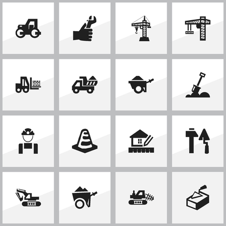 ampoule: Set Of 16 Editable Building Icons. Includes Symbols Such As Lifting Equipment, Oar, Mule And More. Can Be Used For Web, Mobile, UI And Infographic Design.