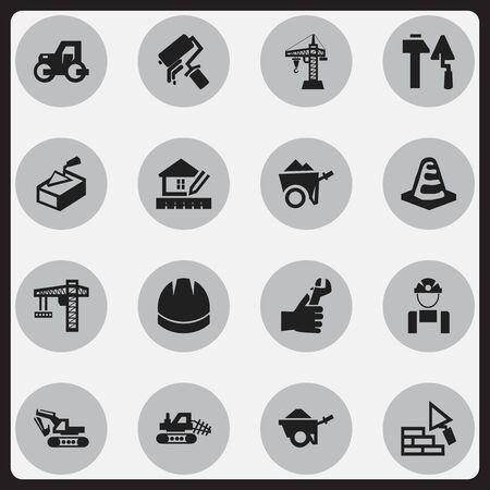 Set Of 16 Editable Building Icons. Includes Symbols Such As Excavation Machine, Hardhat, Notice Object And More. Can Be Used For Web, Mobile, UI And Infographic Design.
