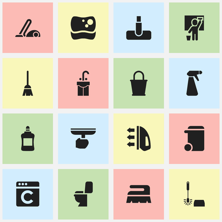 pulverizer: Set Of 16 Editable Cleanup Icons. Includes Symbols Such As Pulverizer, Vacuum Cleaner, Washing Tool And More. Can Be Used For Web, Mobile, UI And Infographic Design.