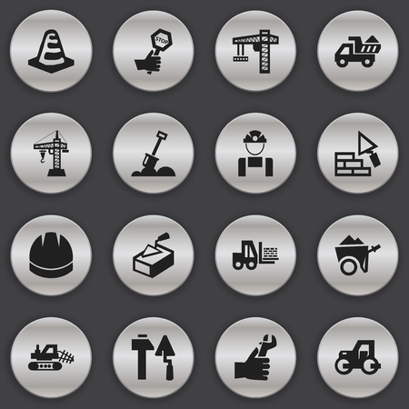 mason: Set Of 16 Editable Structure Icons. Includes Symbols Such As Notice Object, Oar, Caterpillar And More. Can Be Used For Web, Mobile, UI And Infographic Design. Illustration