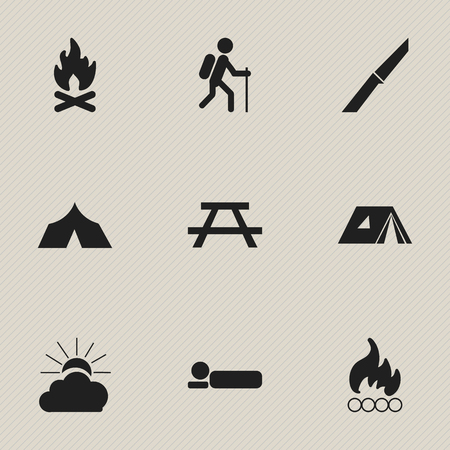 refuge: Set Of 9 Editable Trip Icons. Includes Symbols Such As Desk, Fever, Refuge And More. Can Be Used For Web, Mobile, UI And Infographic Design.