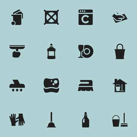 electric broom: Set Of 16 Editable Cleanup Icons. Includes Symbols Such As No Laundry, Cleaner, Brush And More. Can Be Used For Web, Mobile, UI And Infographic Design. Illustration