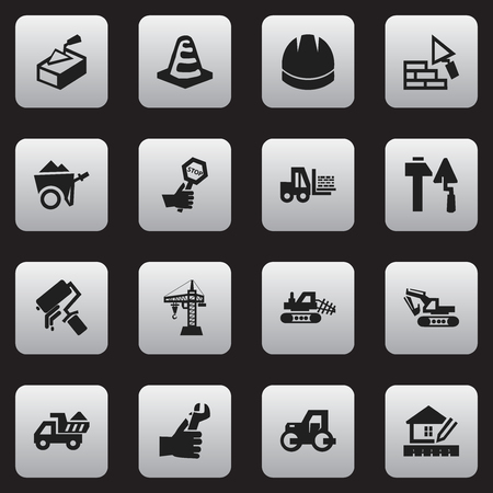 Set Of 16 Editable Building Icons. Includes Symbols Such As Facing, Camion, Excavation Machine And More. Can Be Used For Web, Mobile, UI And Infographic Design.