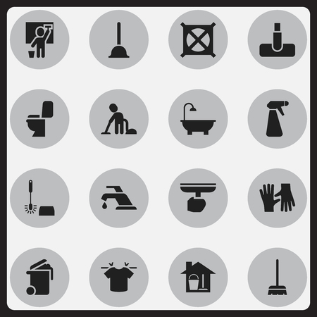 Set Of 16 Editable Cleanup Icons. Includes Symbols Such As Wc Cleaning, No Laundry, Brush And More. Can Be Used For Web, Mobile, UI And Infographic Design. Illustration