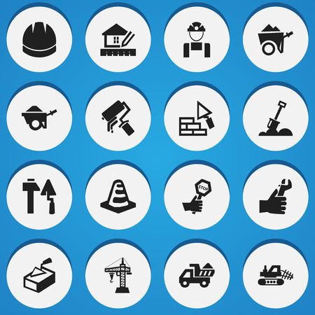 Set Of 16 Editable Building Icons. Includes Symbols Such As Camion, Trolley, Construction Tools And More. Can Be Used For Web, Mobile, UI And Infographic Design.