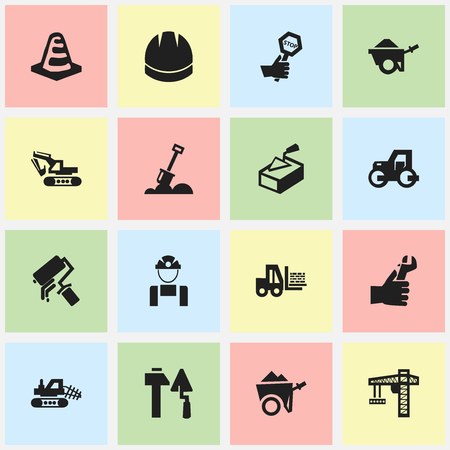 Set Of 16 Editable Building Icons. Includes Symbols Such As Truck, Oar, Lifting Equipment And More. Can Be Used For Web, Mobile, UI And Infographic Design.