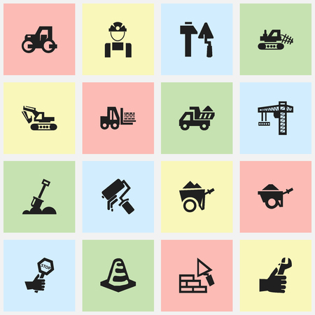 facing: Set Of 16 Editable Structure Icons. Includes Symbols Such As Oar, Truck, Facing And More. Can Be Used For Web, Mobile, UI And Infographic Design. Illustration