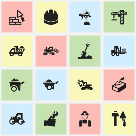 mason: Set Of 16 Editable Structure Icons. Includes Symbols Such As Trolley, Caterpillar, Employee And More. Can Be Used For Web, Mobile, UI And Infographic Design.