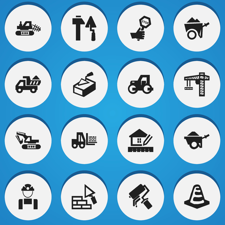 facing: Set Of 16 Editable Structure Icons. Includes Symbols Such As Handcart , Facing, Notice Object. Can Be Used For Web, Mobile, UI And Infographic Design. Illustration