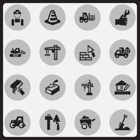 tractor warning: Set Of 16 Editable Building Icons. Includes Symbols Such As Elevator, Facing, Scrub And More. Can Be Used For Web, Mobile, UI And Infographic Design. Illustration