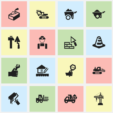 Set Of 16 Editable Structure Icons. Includes Symbols Such As Notice Object, Excavation Machine, Spatula And More. Can Be Used For Web, Mobile, UI And Infographic Design.  イラスト・ベクター素材