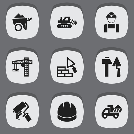 Set Of 9 Editable Construction Icons. Includes Symbols Such As Lifting Equipment, Construction Tools, Handcart. Can Be Used For Web, Mobile, UI And Infographic Design.  イラスト・ベクター素材