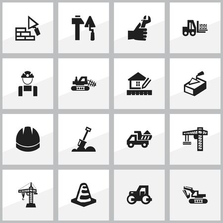facing: Set Of 16 Editable Building Icons. Includes Symbols Such As Oar, Facing, Notice Object And More. Can Be Used For Web, Mobile, UI And Infographic Design. Illustration
