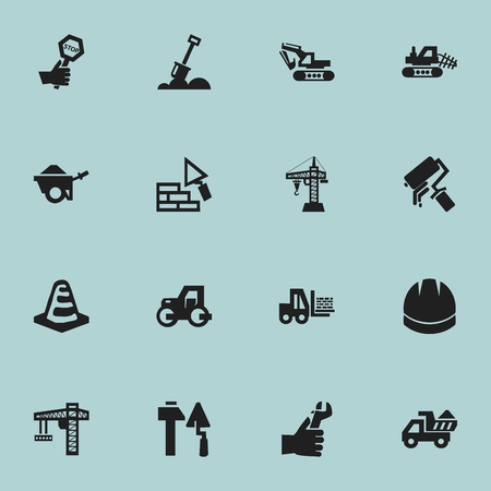 Set Of 16 Editable Building Icons. Includes Symbols Such As Excavation Machine, Facing, Scrub And More. Can Be Used For Web, Mobile, UI And Infographic Design.