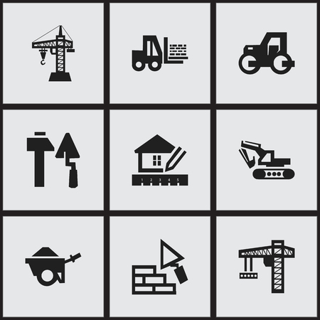 facing: Set Of 9 Editable Construction Icons. Includes Symbols Such As Facing, Lifting Equipment, Caterpillar And More. Can Be Used For Web, Mobile, UI And Infographic Design.