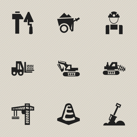 mason: Set Of 9 Editable Construction Icons. Includes Symbols Such As Truck, Lifting Equipment, Oar And More. Can Be Used For Web, Mobile, UI And Infographic Design.