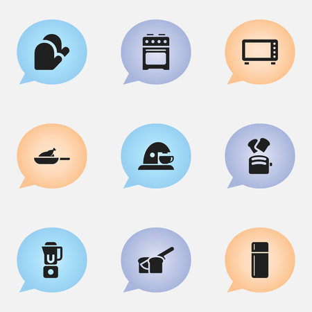 originator: Set Of 9 Editable Cook Icons. Includes Symbols Such As Refrigerator , Hand Mixer, Grill. Can Be Used For Web, Mobile, UI And Infographic Design. Illustration