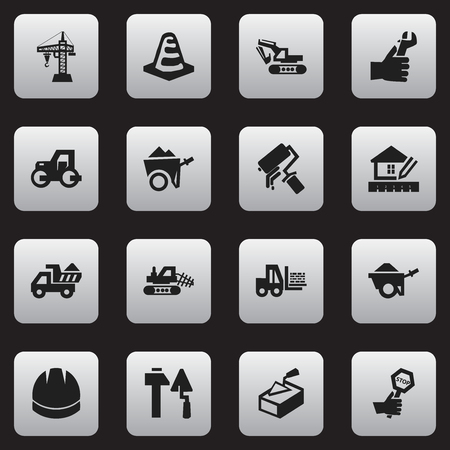 Set Of 16 Editable Building Icons. Includes Symbols Such As Truck, Excavation Machine, Endurance And More. Can Be Used For Web, Mobile, UI And Infographic Design.