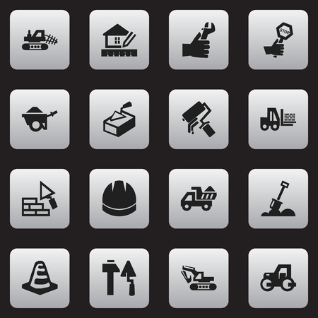 paddle wheel: Set Of 16 Editable Building Icons. Includes Symbols Such As Endurance, Truck, Trolley And More. Can Be Used For Web, Mobile, UI And Infographic Design.