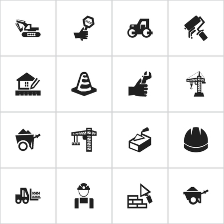 ampoule: Set Of 16 Editable Building Icons. Includes Symbols Such As Excavation Machine , Spatula , Handcart. Can Be Used For Web, Mobile, UI And Infographic Design. Illustration