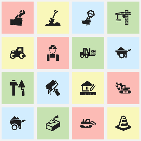 paddle wheel: Set Of 16 Editable Building Icons. Includes Symbols Such As Lifting Equipment, Home Scheduling, Oar And More. Can Be Used For Web, Mobile, UI And Infographic Design.