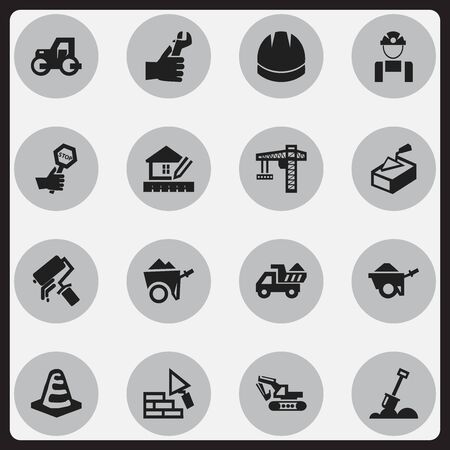 ampoule: Set Of 16 Editable Construction Icons. Includes Symbols Such As Oar, Home Scheduling, Facing And More. Can Be Used For Web, Mobile, UI And Infographic Design. Illustration