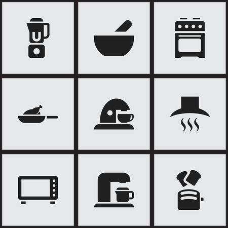 Set Of 9 Editable Food Icons. Includes Symbols Such As Grill , Cup , Hand Mixer. Can Be Used For Web, Mobile, UI And Infographic Design.