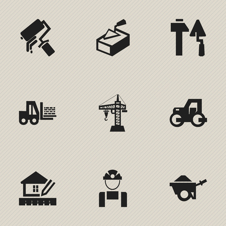 garden maintenance: Set Of 9 Editable Structure Icons. Includes Symbols Such As Trolley, Employee, Construction Tools And More. Can Be Used For Web, Mobile, UI And Infographic Design.