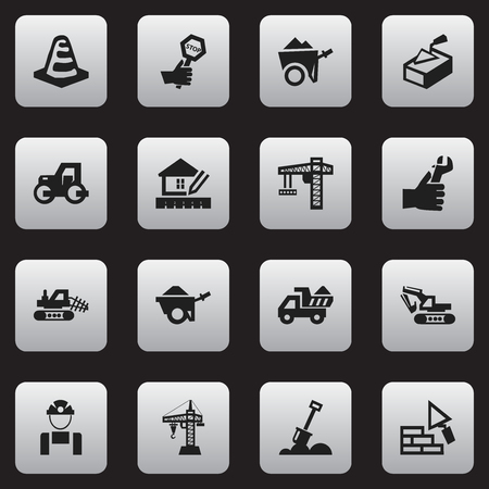 Set Of 16 Editable Structure Icons. Includes Symbols Such As Spatula, Caterpillar, Endurance And More. Can Be Used For Web, Mobile, UI And Infographic Design. Illustration