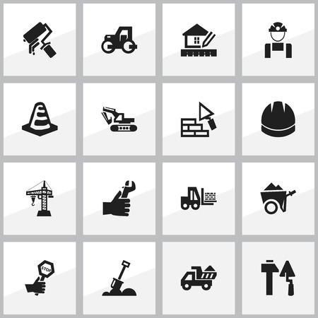 Conjunto de 16 iconos de estructura editable. Incluye símbolos como carros de mano, revestimiento, máquina de excavación. Puede ser utilizado para diseño web, móvil, UI e infografía. Ilustración de vector