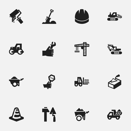 mason: Set Of 16 Editable Construction Icons. Includes Symbols Such As Oar, Notice Object, Hardhat And More. Can Be Used For Web, Mobile, UI And Infographic Design.