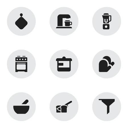 Set Of 9 Editable Cooking Icons. Includes Symbols Such As Pot-Holder, Kitchen Glove, Drink Maker And More. Can Be Used For Web, Mobile, UI And Infographic Design. Çizim