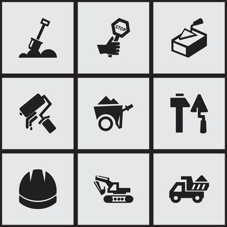 Set Of 9 Editable Structure Icons. Includes Symbols Such As Spatula, Excavation Machine, Hardhat And More. Can Be Used For Web, Mobile, UI And Infographic Design.
