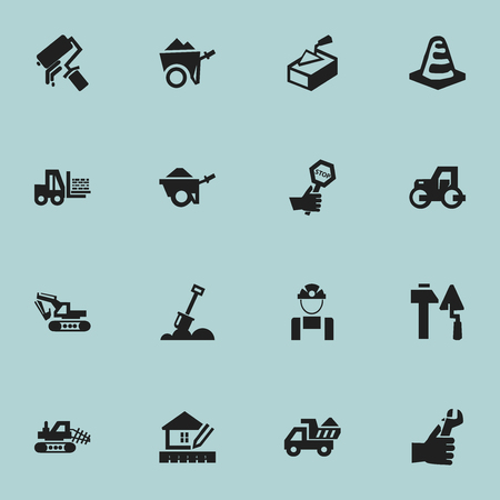 Set Of 16 Editable Construction Icons. Includes Symbols Such As Handcart , Truck , Hands. Can Be Used For Web, Mobile, UI And Infographic Design.