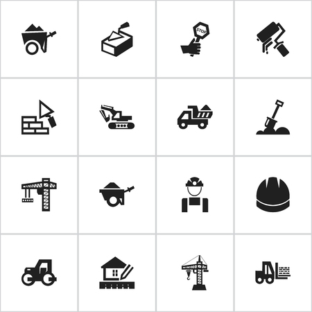 tractor warning: Set Of 16 Editable Building Icons. Includes Symbols Such As Scrub, Handcart , Endurance. Can Be Used For Web, Mobile, UI And Infographic Design.
