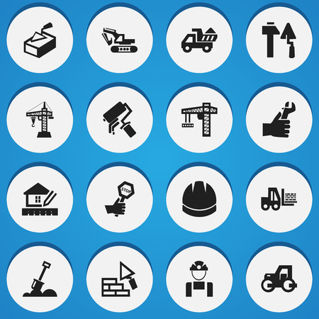 mason: Set Of 16 Editable Structure Icons. Includes Symbols Such As Hands , Employee , Scrub. Can Be Used For Web, Mobile, UI And Infographic Design.